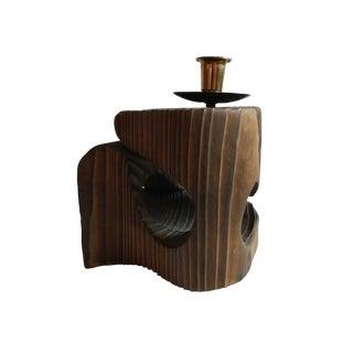 1960s Mid Century Brutalist Sculptural Wood Candleholder For Sale