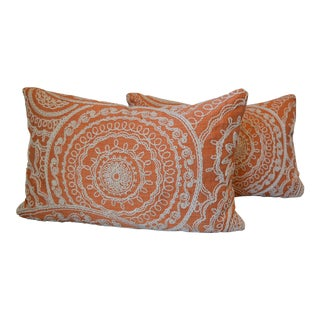 Kravet Embroidered Lumbar Pillows - a Pair For Sale