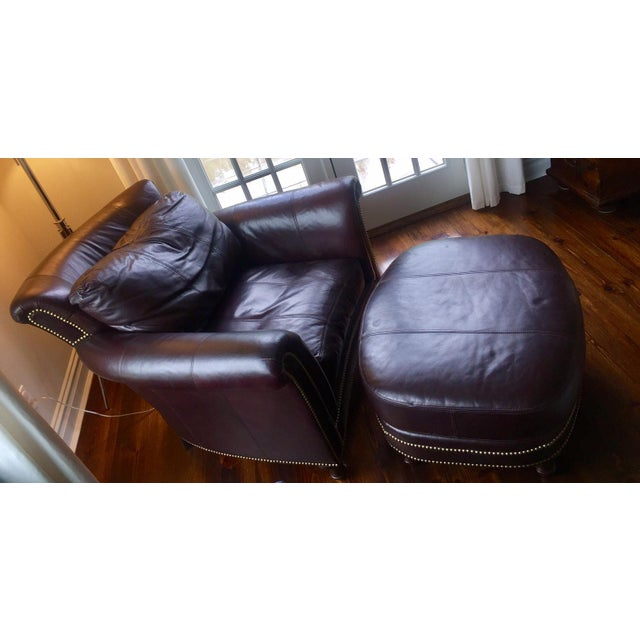 Ferguson Copeland Surrey Leather Chair & Ottoman For Sale - Image 4 of 10