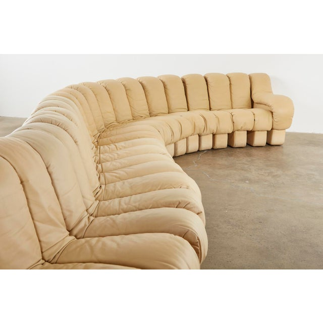 Metal Matched Pair of De Sede Ds600 Non-Stop Leather Sectional Sofas For Sale - Image 7 of 13