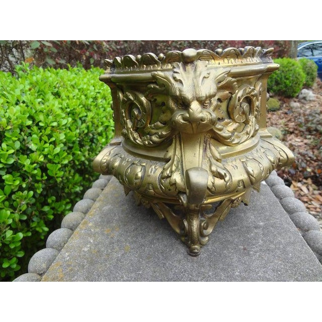19th Century French Napoleon III Brass Jardiniere or Planater For Sale - Image 4 of 11
