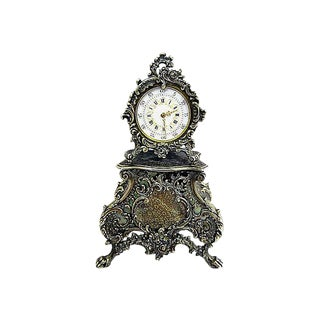 French Sterling Mini-Clock For Sale