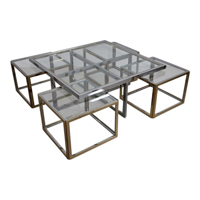 Maison Charles Brass Coffee Table with Four Nesting Tables For Sale