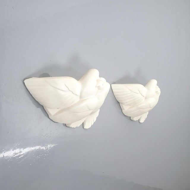 Art Deco Pair of Art Deco White Plaster Dove Sconces Wall Lamps, France Circa 1935 For Sale - Image 3 of 10