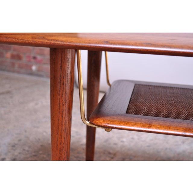 Gold Peter Hvidt & Orla Mølgaard Nielsen Teak and Cane Coffee Table For Sale - Image 8 of 13