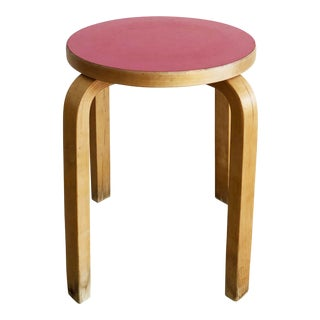 Mid Century Stool E60 by Alvar Aalto by Icf in Bech and Red Top For Sale