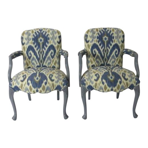 Gray Lacquered Cabriole Leg Chairs Reupholstered in Kravet - A Pair For Sale