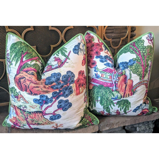 Asian Chinoiserie Style Asian Scenic Thibaut Fabric Pillow Covers- A Pair For Sale - Image 3 of 4