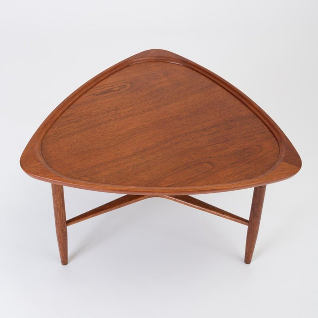 "1960s Scandinavian Modern Teak ""Guitar Pick"" Side Table For Sale - Image 5 of 13"