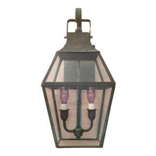 Late 20th Century Traditional Weathered Brass Outdoor Lantern Sconce For Sale