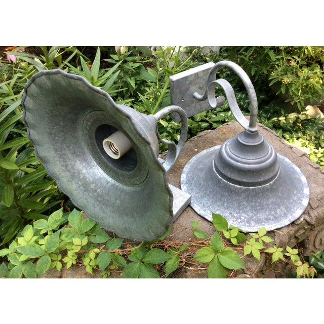 Vintage Smith and Hawken Galvanized Sconces - Pair - Image 4 of 8