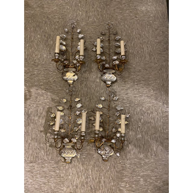 Pair of 1920's double light sconces with leaves desigh