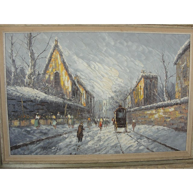 Impressionism Mid-Century Impressionist Winter Cityscape For Sale - Image 3 of 11