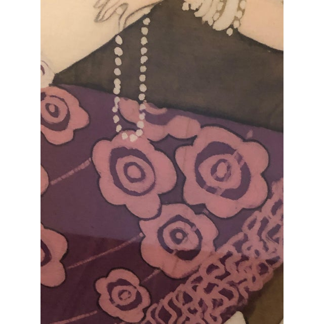 Textile 1980s Art Nouveau Batik of Lovers, Framed For Sale - Image 7 of 9
