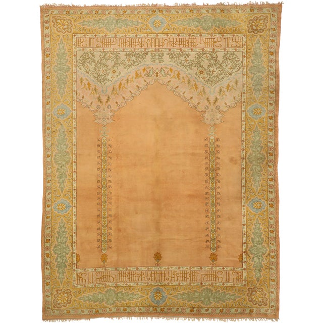 Late 19th Century Antique Turkish Oushak Rug - 10'09 X 13'03 For Sale - Image 10 of 10