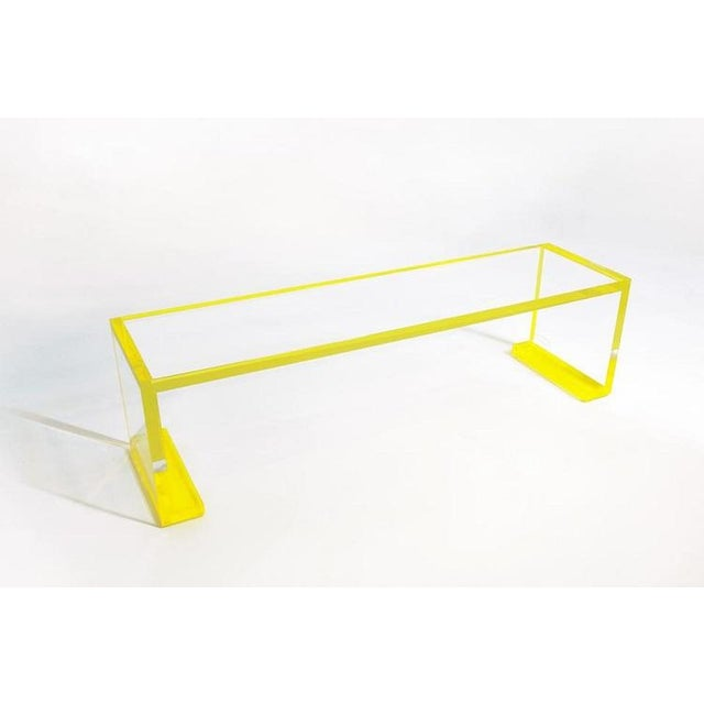 2020s Yellow-Transparent Lucite Console Table For Sale - Image 5 of 6