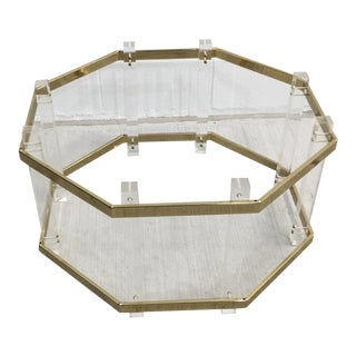 Vintage Mid-Century Lucite Brass Octagonal Coffee Table Base For Sale