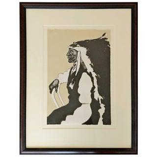 Mid-Century Modern Framed Print of Native American Signed Fritz Scholder