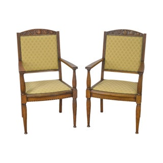 Austrian Arts & Crafts Antique Pair of Carved Arm Chairs