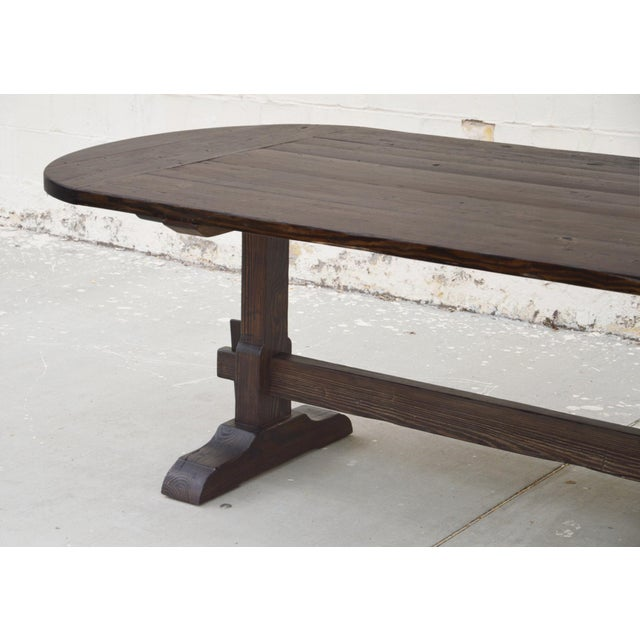 Rustic Country Racetrack Trestle Table Made From Reclaimed Pine For Sale - Image 3 of 11