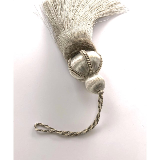 Taupe Key Tassel With Cut Velvet Ruche For Sale In New York - Image 6 of 10