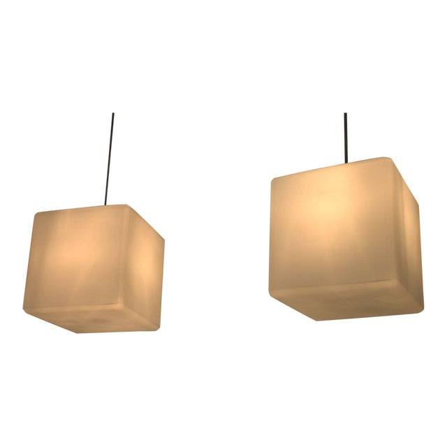 Pair of Milk Glass Cube Pendants by Stilnovo, Italy, 1960s For Sale