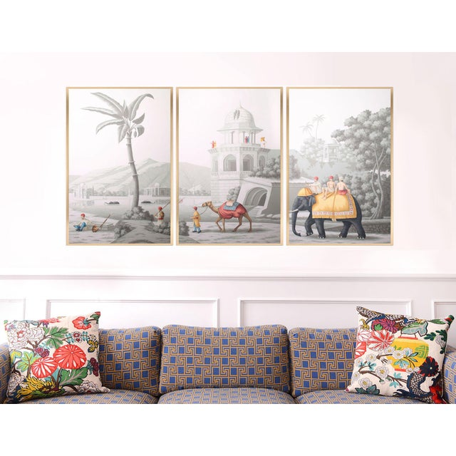 """Jardins en Fleur """"Idyllic Scenes of Ancient India"""" Hand-Painted Grisaille Triptych – 3 Pieces For Sale In Los Angeles - Image 6 of 7"""