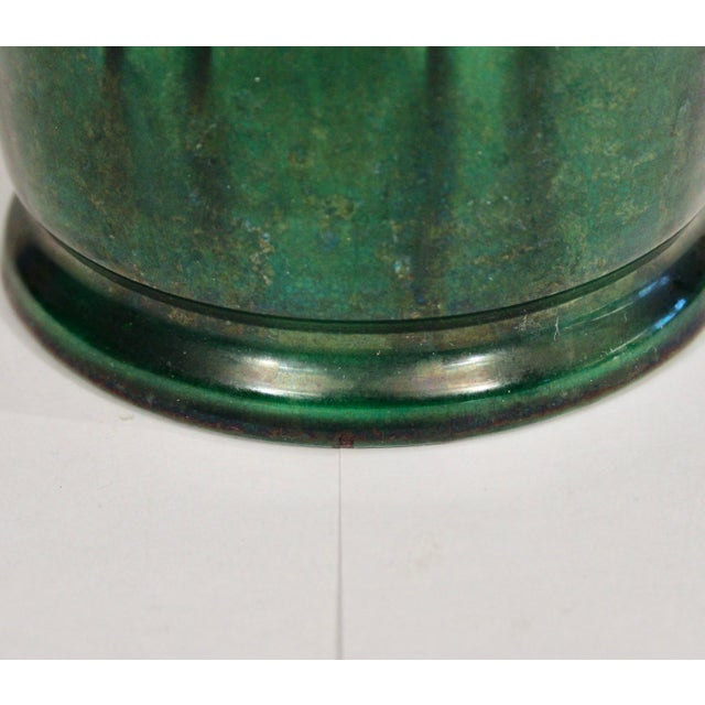 1910s 1910s Awaji Pottery Organic Arts & Crafts Petal Handle Green Monochrome Vase For Sale - Image 5 of 12