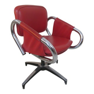 1960s Vintage Red Chrome Lounge Chair For Sale