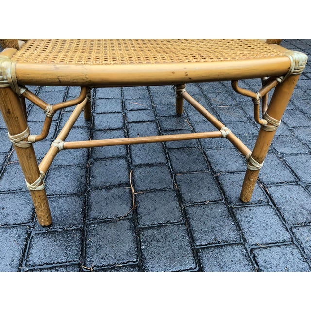 Vintage McGuire Palm Cushion Cracked Ice Rattan Chair - Image 9 of 11