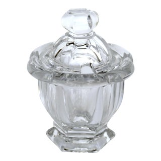 20th Century Traditional Baccarat France Crystal Covered Mustard Pot For Sale