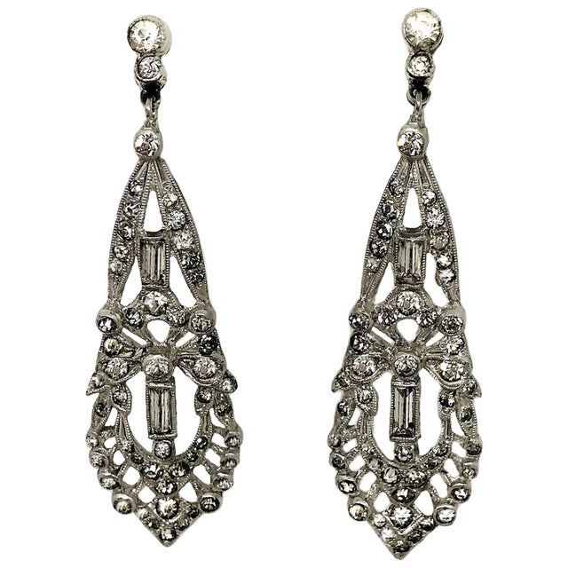 1920s 1920s Clear Faceted Stone Dangling Earrings For Sale - Image 5 of 5