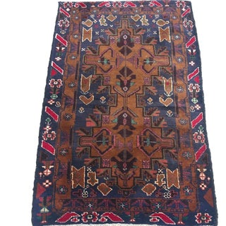 1940s Vintage Small Afghani Baluch Rug - 2′9″ × 4′5″ For Sale
