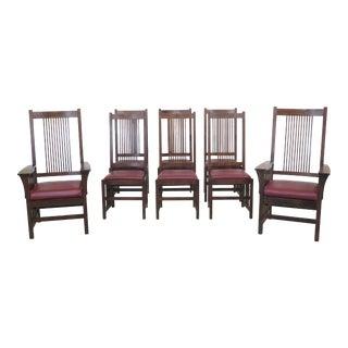 1990s Vintage Stickley Mission Oak High Back Dining Room Chairs- Set of 8 For Sale