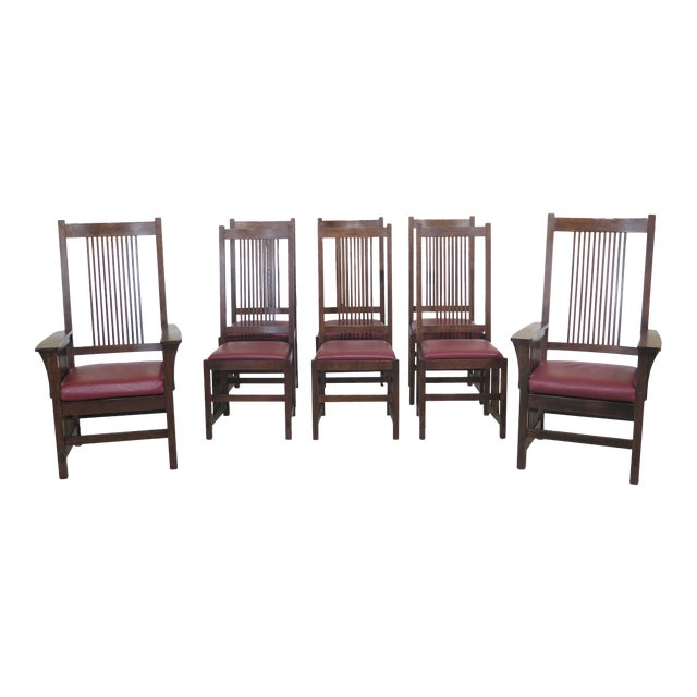 1990s Vintage Stickley Mission Oak High Back Dining Room Chairs- Set of 8