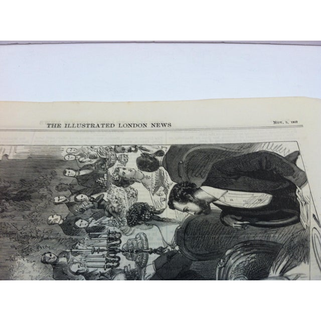 """1867 Antique """"Banquet Given to the Imperial Commissioners of the Paris Exhibition"""" The Illustrated London News Print For Sale - Image 4 of 5"""