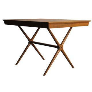X-Base Walnut Dining Table For Sale