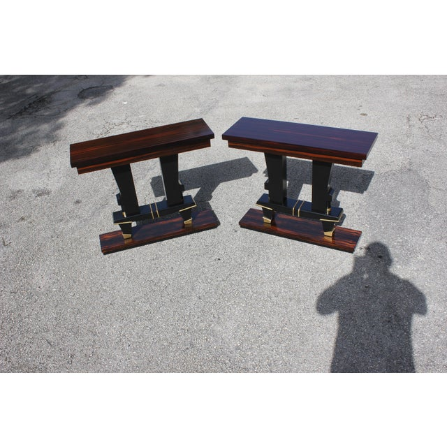 Classic Pair of French Art Deco Exotic Macassar Ebony Console Tables, Circa 1940s For Sale - Image 9 of 13