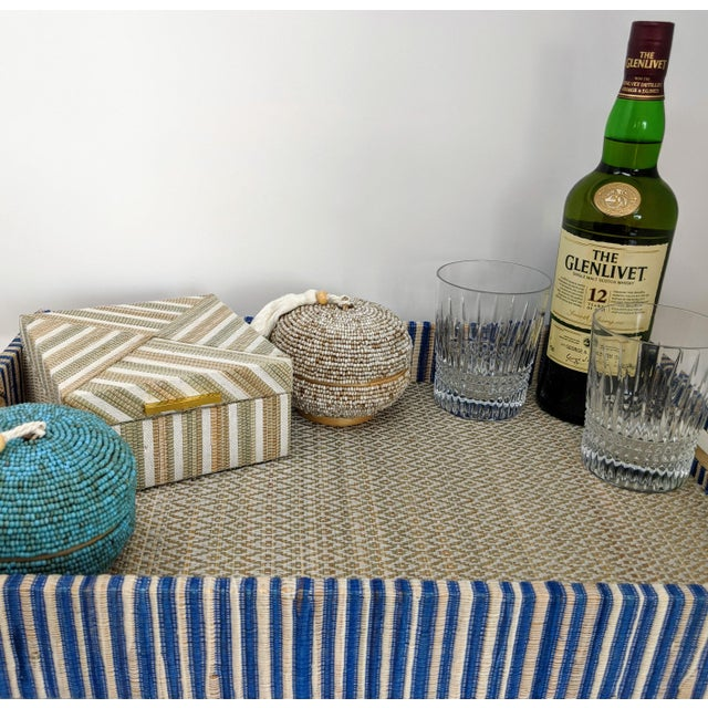 Boho Chic Organic Rectangular Woven Tray With Cotton and Rattan For Sale - Image 3 of 10