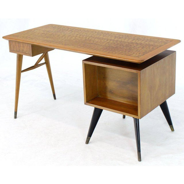Italian Birch Tiger Maple Exposed Sculptural Legs One Pedestal 4 Drawers Desk For Sale - Image 9 of 13
