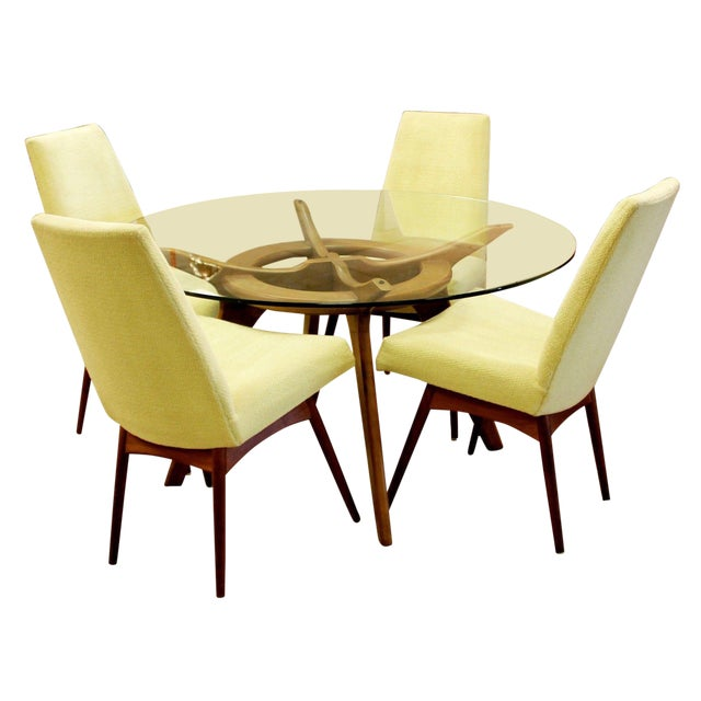 Mid Century Modern Adrian Pearsall Compass Dinette Dining Table & 4 Chairs 1960s For Sale
