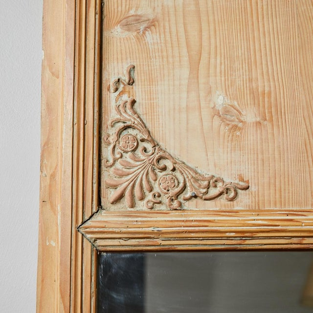 Early 19th Century 1820s French Directoire Pine Trumeau Mirror For Sale - Image 5 of 12