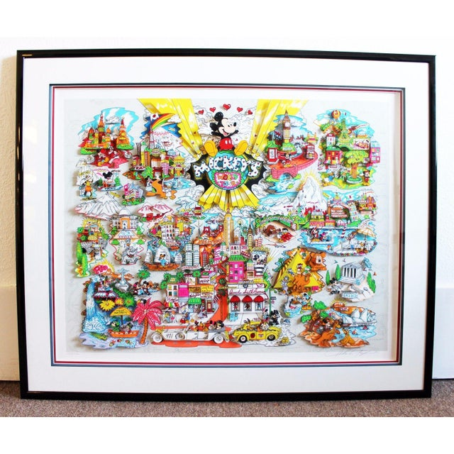 Mickey's World Tour 3d Framed Art by Charles Fazzino For Sale - Image 10 of 10