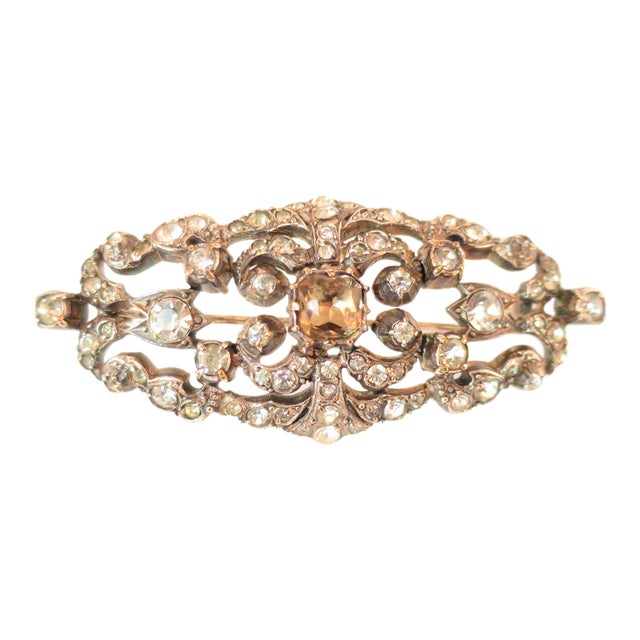 Edwardian Hand-Wrought Sterling & French Paste Brooch1905 For Sale