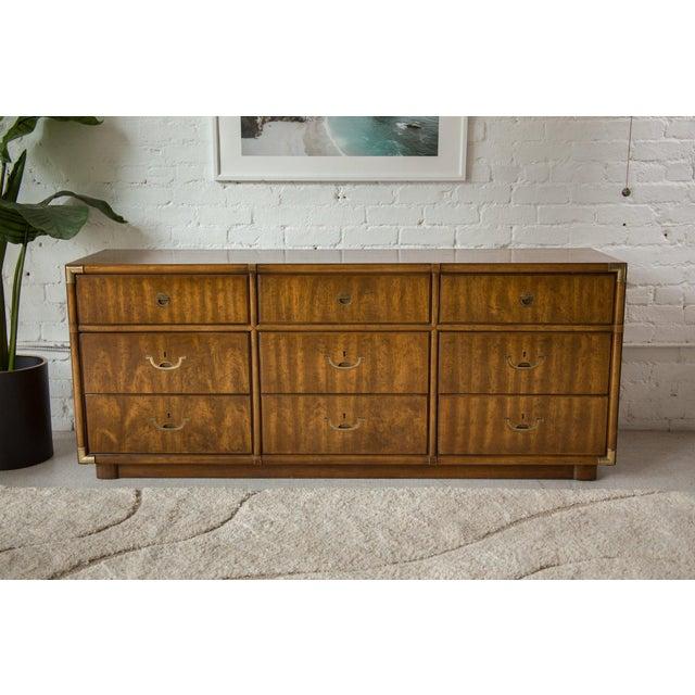 Vintage Campaign Nine Drawer Dresser by Drexel For Sale - Image 13 of 13