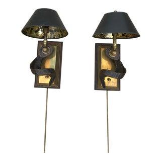 Mid-Century Modern Brass & Horn Scones - a Pair