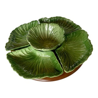 Mid-Century Modern Maddux of California Lettuce Lazy Susan Serving Relish Tray For Sale