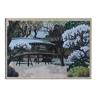 1992 Yushima Tenjin Temple Japanese Woodblock Print by Masado Ido For Sale