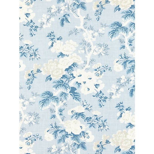 Ascot Linen Print features a graceful vine of climbing roses and hollyhocks. The chic monochromatic palette and spare,...