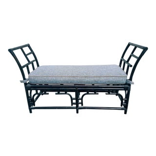 20th Century Asian Modern Black Rattan Bench With Fabric Cushion